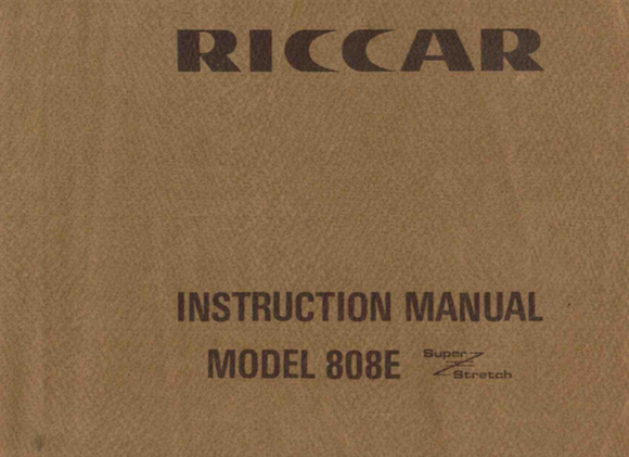 RICCAR 808E Instruction Manual (Printed)