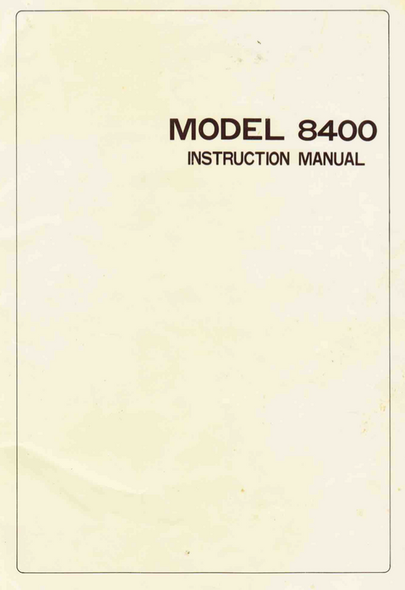 RICCAR 8400 Instruction Manual (Printed)