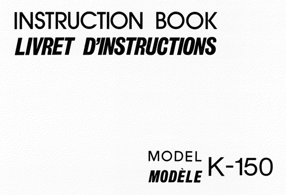 NEW HOME K-150  IInstruction Manual (Download)