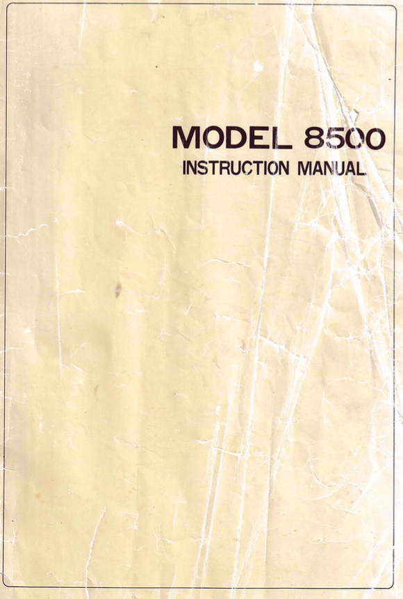 RICCAR Model 8500 (Reliant) Instruction Manual (Download)