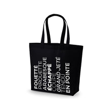 Load image into Gallery viewer, Premium Cotton Maxi Tote (Ballet Vocabulary Graphic)