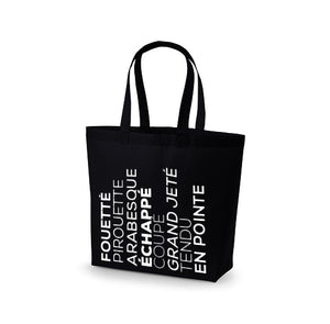 Premium Cotton Maxi Tote (Ballet Vocabulary Graphic)