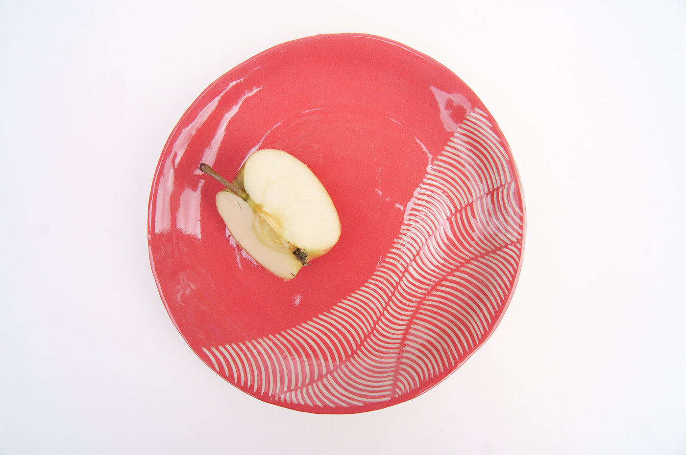 18cm Dessert plates raspberry red - white