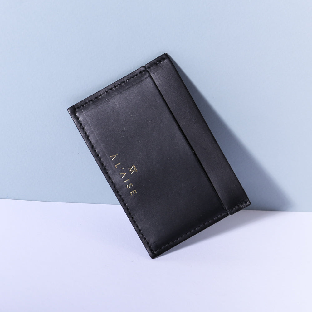 elegant black leather multi card holder by A'Laise