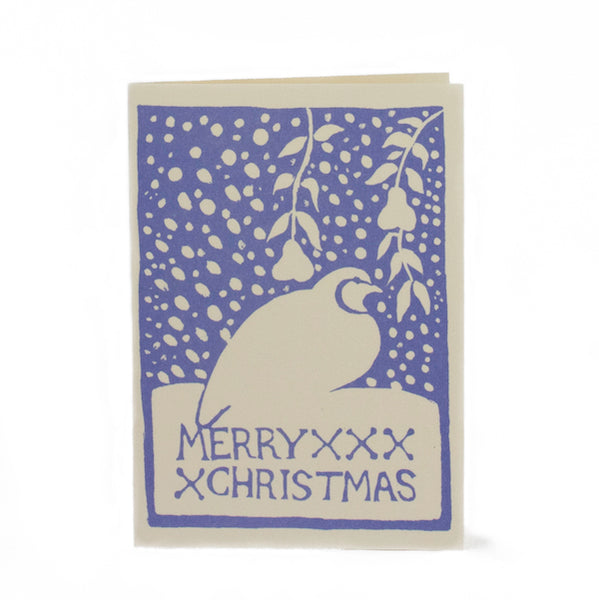 Merry Xmas Partridge 7 Peartree blue Christmas card