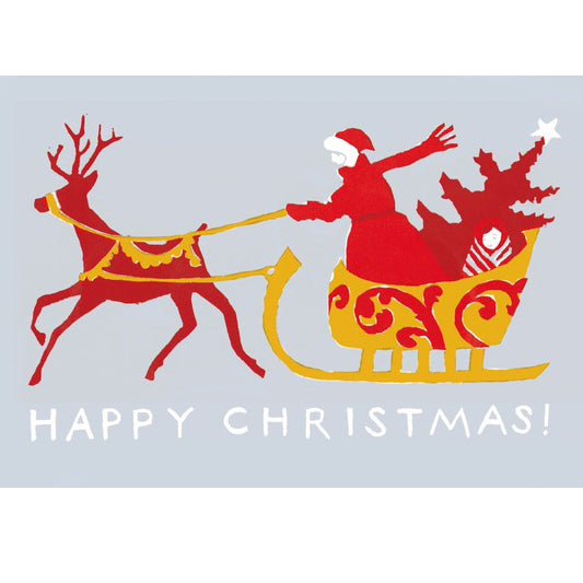 Happy Christmas Sleigh vintage Christmas Card by Cambridge Imprint