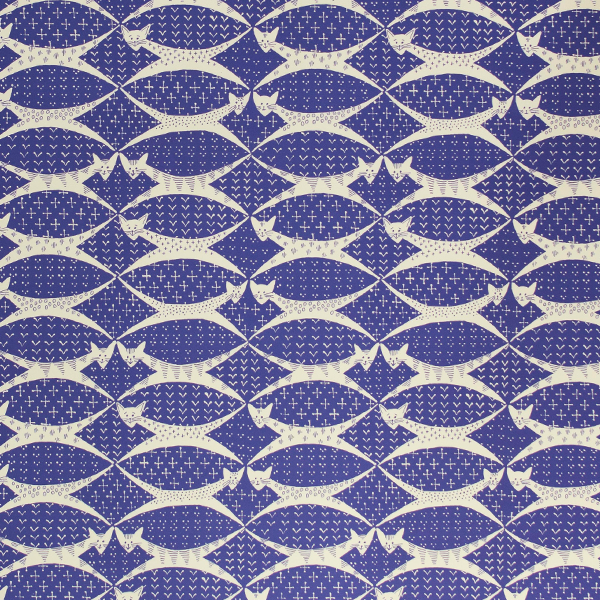 Cats Periwinkle Blue artisan gift wrap by Cambridge Imprint