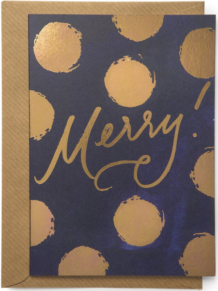 Merry! Elegant copper foil on dark navy Christmas Card