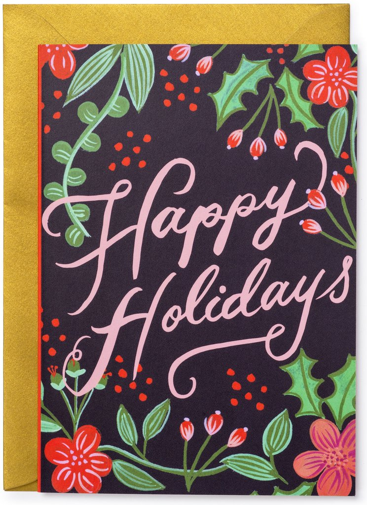 Happy Holidays Berries Christmas Card