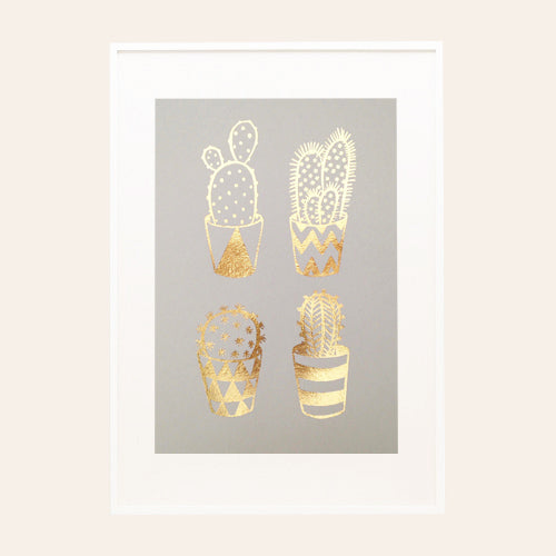 Gold Foil Cacti on Grey