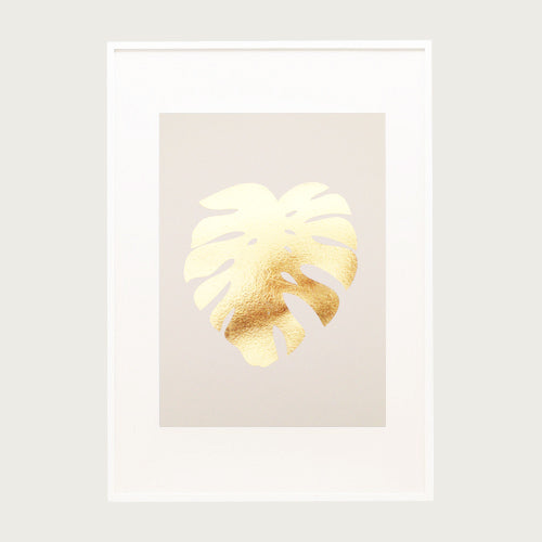 Gold Foil Cheese plant A4 Print on Pink