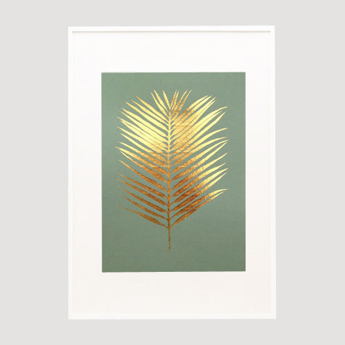 Gold Foil Erica African Palm Print on Olive