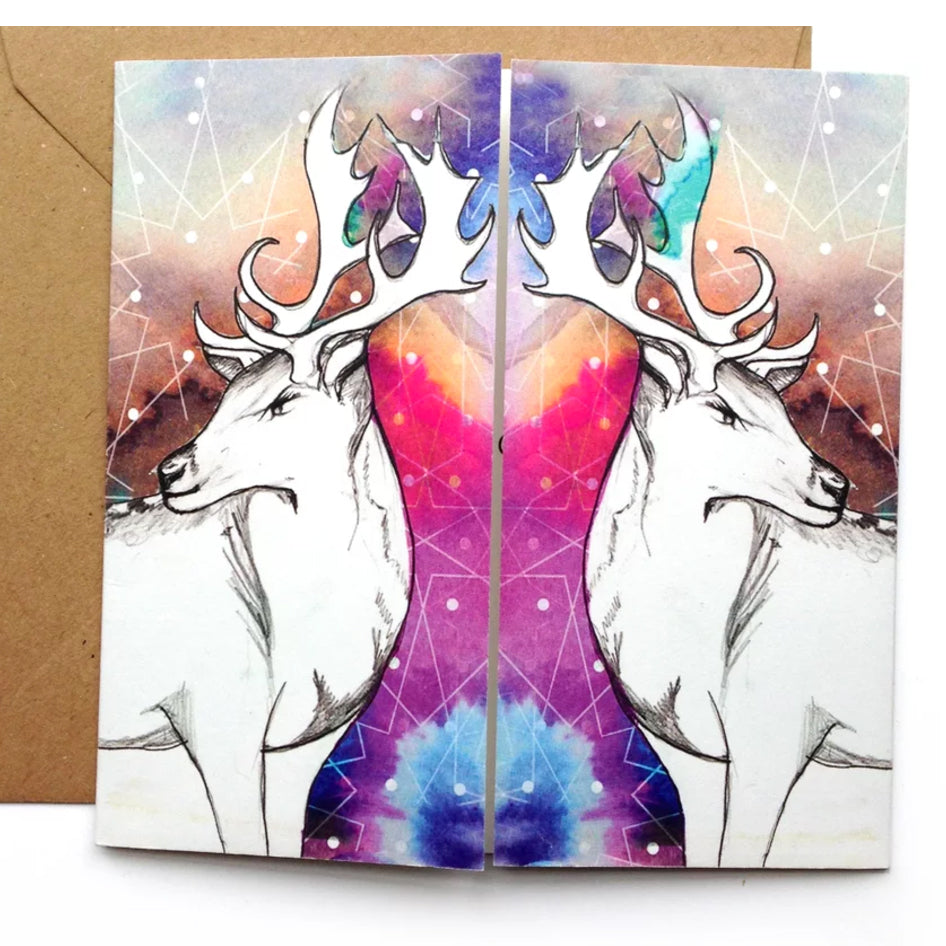 Northern Lights with Deers Christmas Card