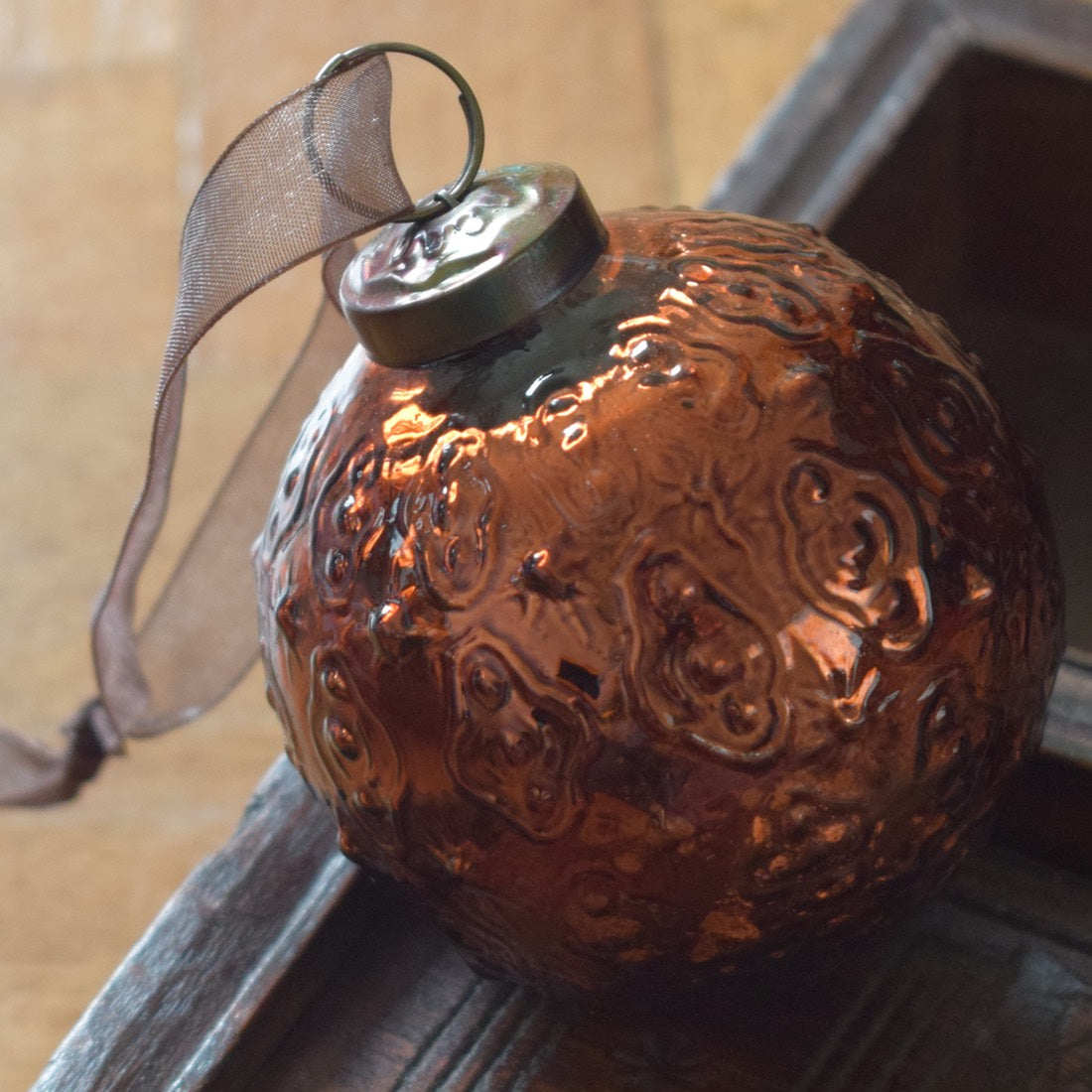 Large Copper indian glass ball Bauble