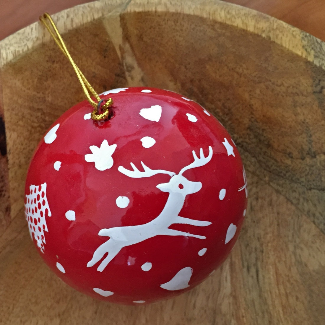 Large red reindeer ball