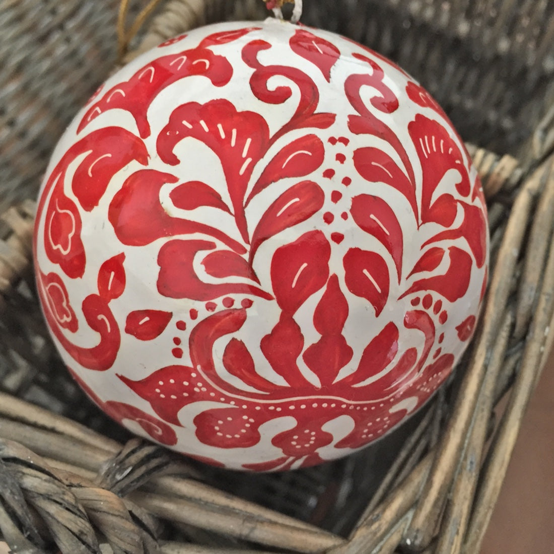 Large white & red print ball