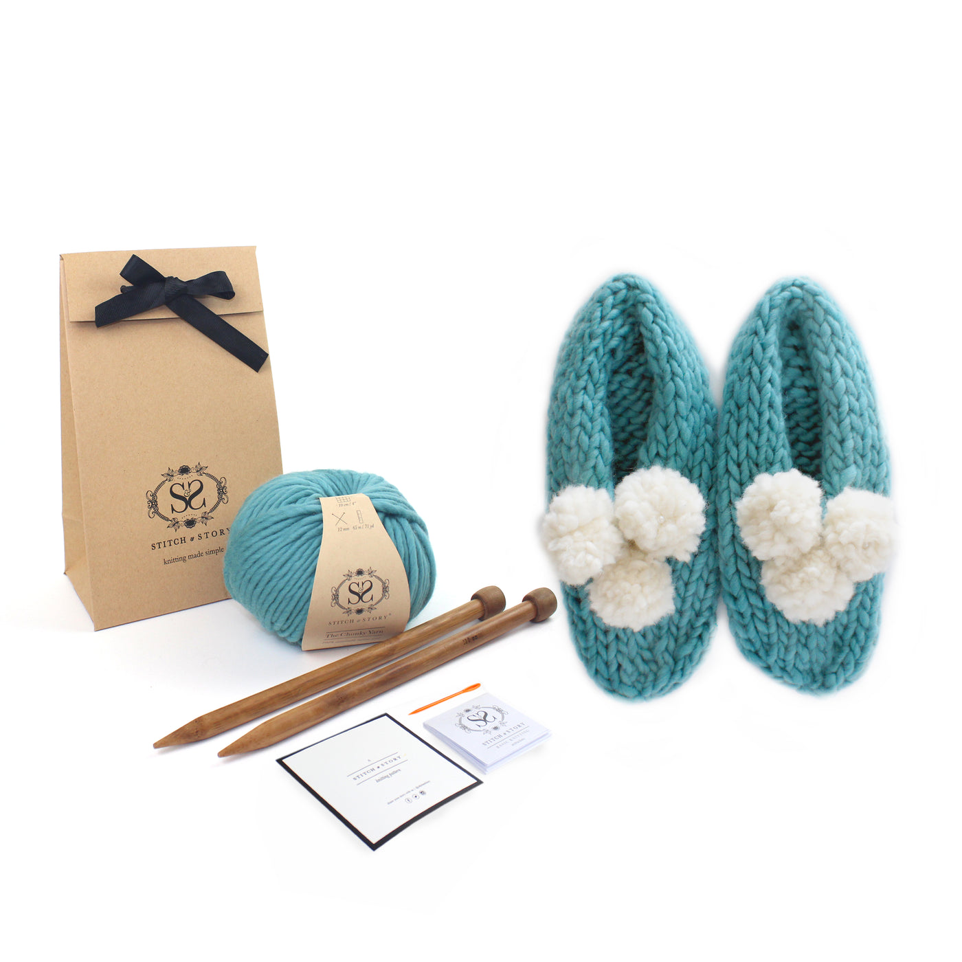 Knitting Kit - Lola Pom slippers stone teal