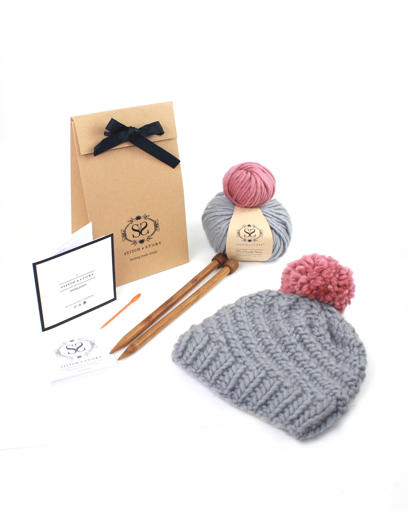 Knitting Kit - Luca Pom Hat stormy grey+pink Knitting Kit