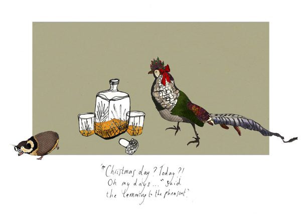 Christmas Day Pheasant & Lemming Card