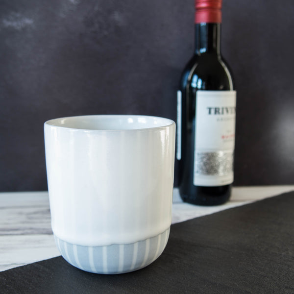 Stubby tumbler Porcelain White & dove grey