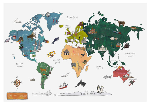 World Map print A2  Giclee