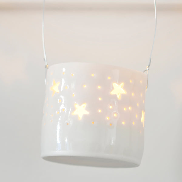 Hanging mini stars tea light holder