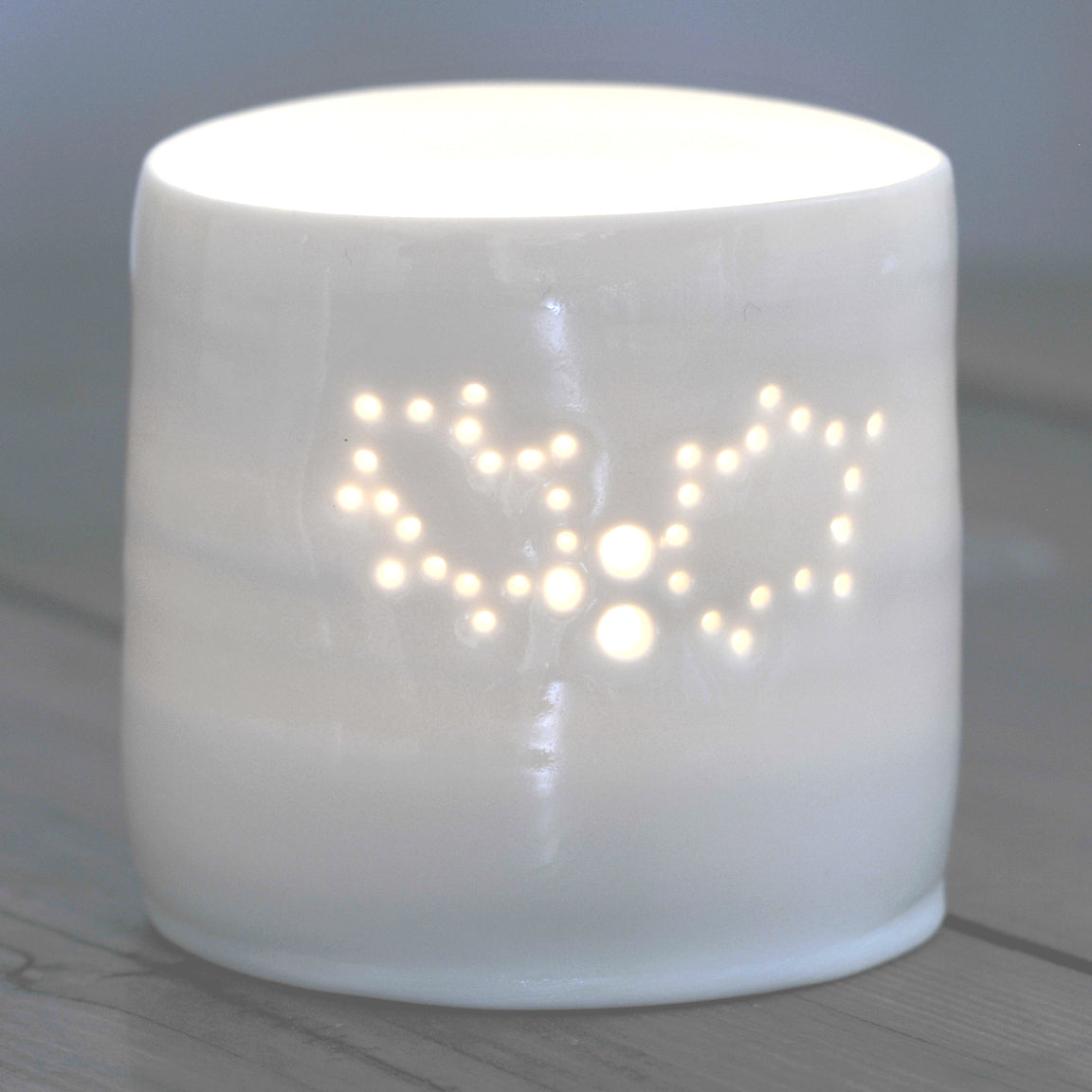 mini holly tea light holder