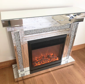 Mirrored Crushed Diamond Fireplace & Electric Fire