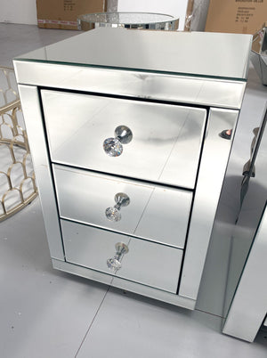 Mirrored Classic Bedside Table 3 Drawers