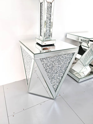 Crushed Diamond V-Shaped Side Table