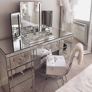 Glamorous 7 Drawer Mirrored Vanity Dressing Table