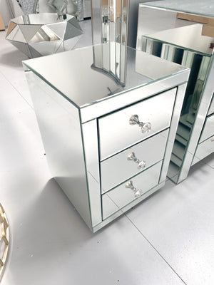 PAIR of Mirrored Classic Bedside Table 3 Drawers
