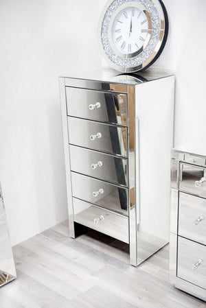Venetian Mirrored 5 Drawer Luxury Tallboy