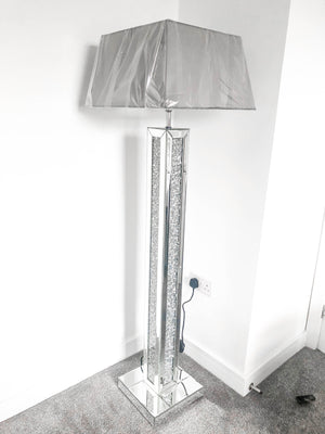 Crushed Diamond Crystal Mirrored Floor Lamp