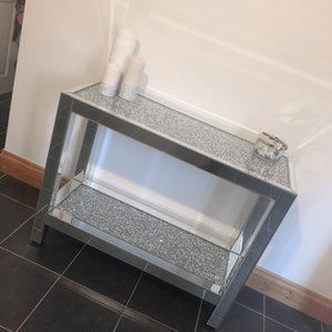 Crushed Diamond Mirrored Two Tier Console Table