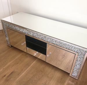 Large Crushed Diamond TV Media Entertainment Unit