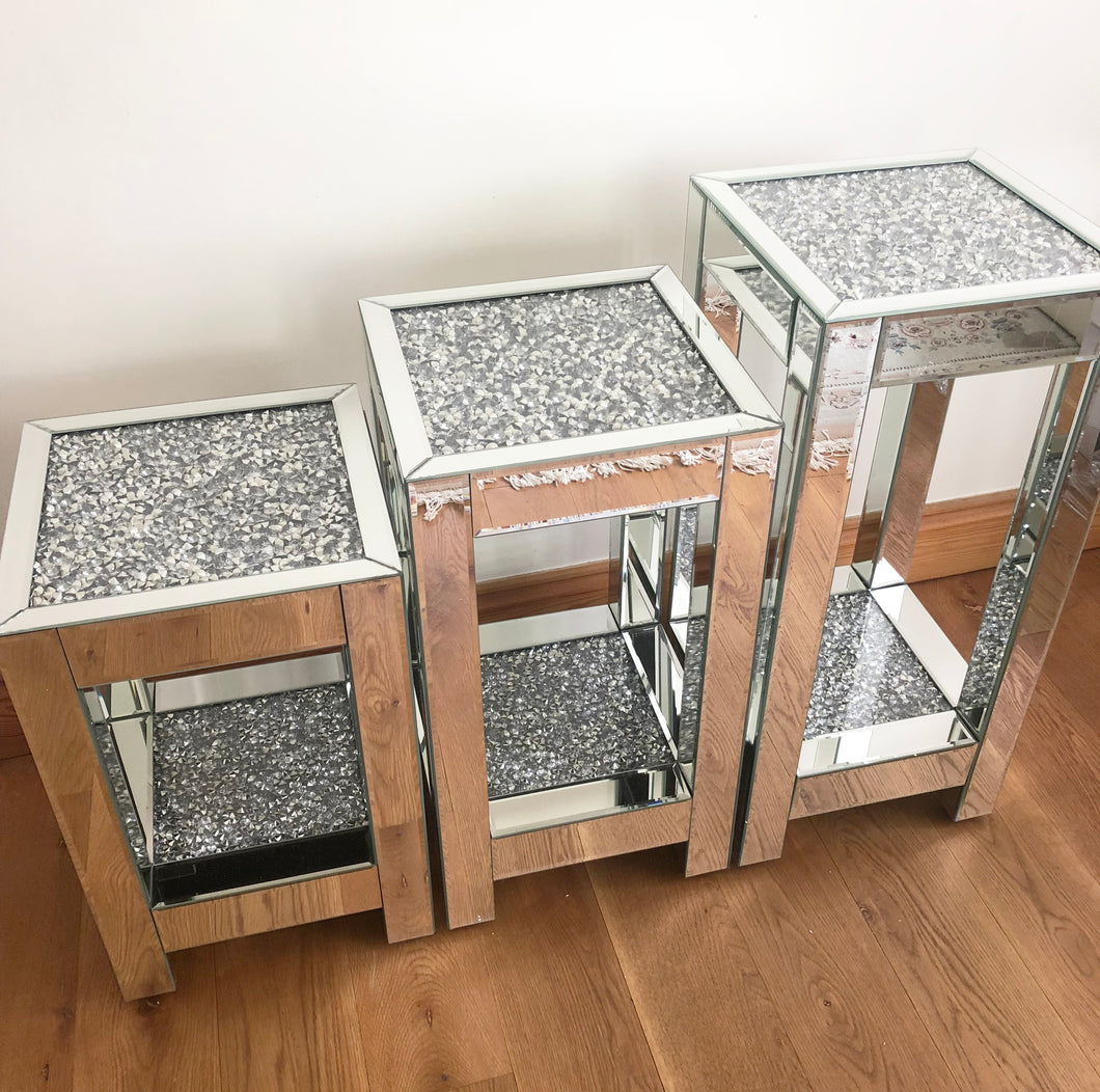 Mirrored Crushed Diamond Two Tier Side Table - SMALL
