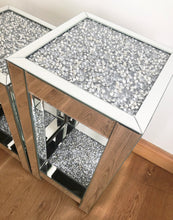 Mirrored Crushed Diamond Two Tier Side Table - TALL