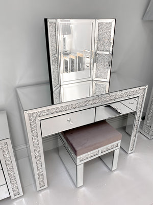 Crushed Diamond Dressing Table, Stool And Mirror Set