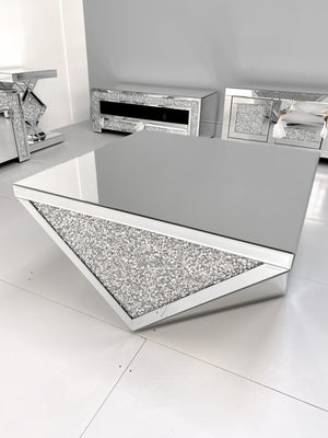 Mirrored Crushed Diamond V-Shaped Coffee Table