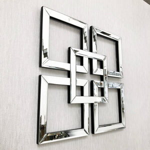 Silver Mirrored Geometric Squares Wall Art 50cm x 50cm