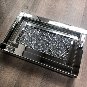 Mirrored Crushed Diamond Serving Tray