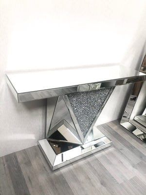 Mirrored Crushed Diamond V-Shaped Console Table