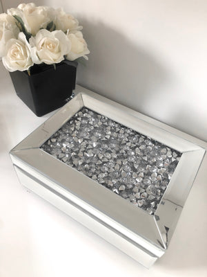 Mirrored Crushed Diamond Jewellery Trinket Storage Box