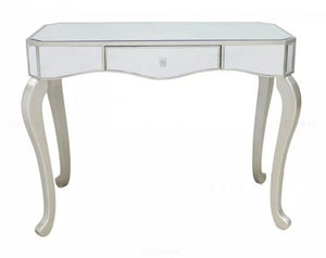 SILVER TRIM MIRRORED DRESSING CONSOLE TABLE UNIT