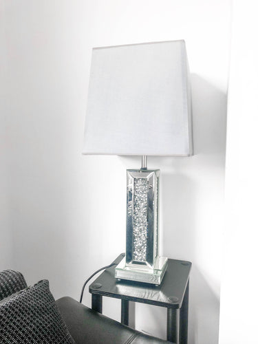 Crushed Diamond Mirrored Table Lamp