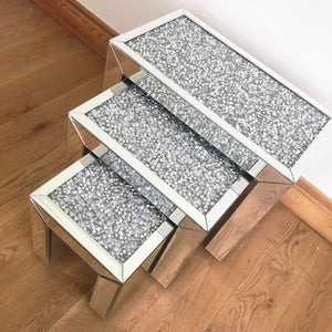 Crushed Diamond Nest Of Tables Set of 3