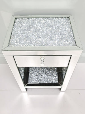 Mirrored Crushed Diamond Top & Shelf Bedside Table