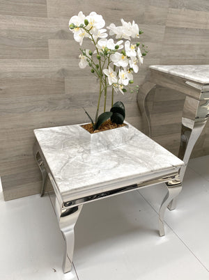 Grey/White Marble Louis Lamp/End Table