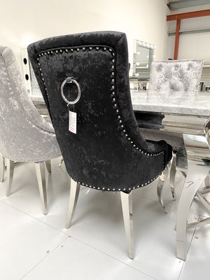 Crushed Velvet Black Dining Chairs